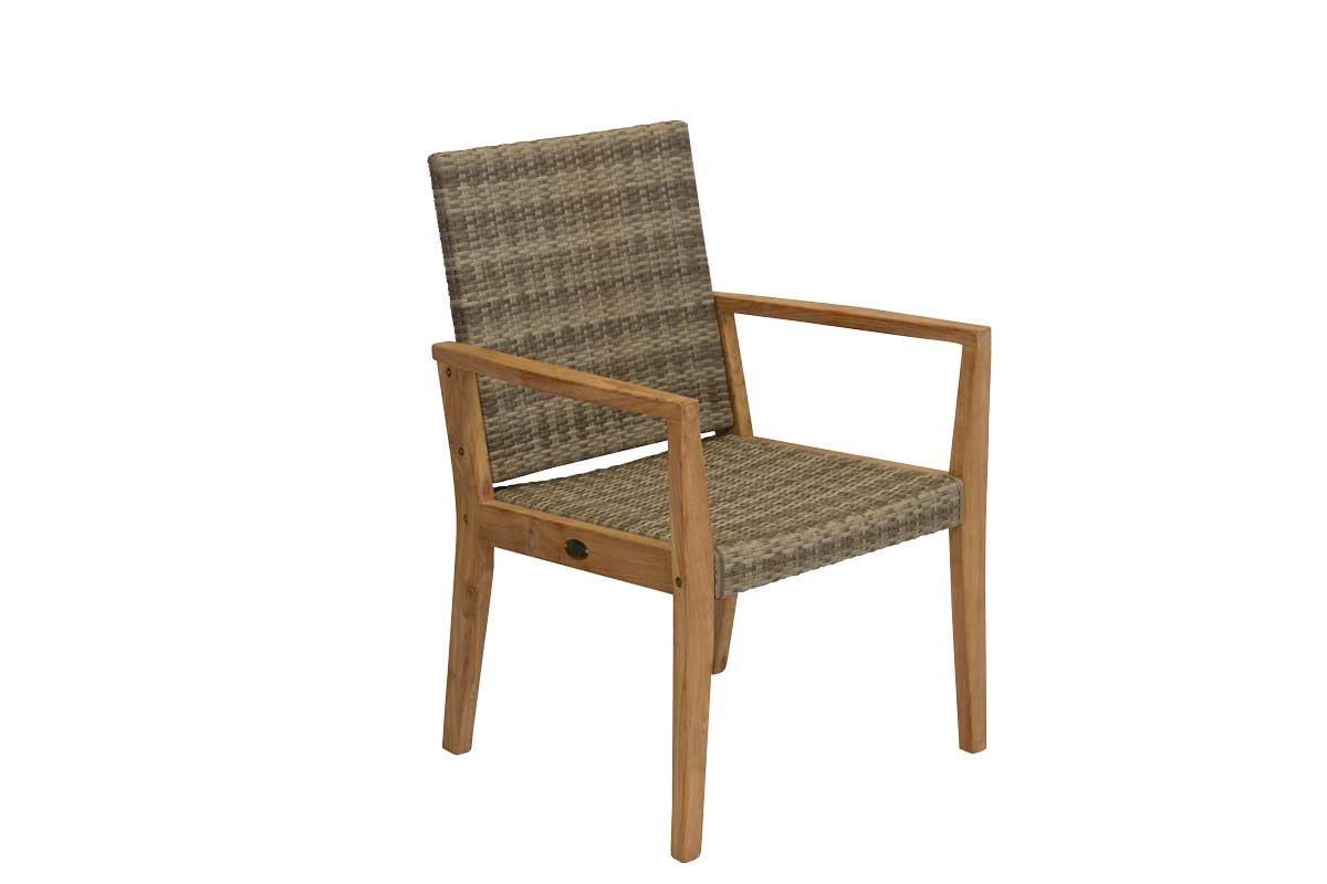 Teak Mocha Wicker Dining Chair