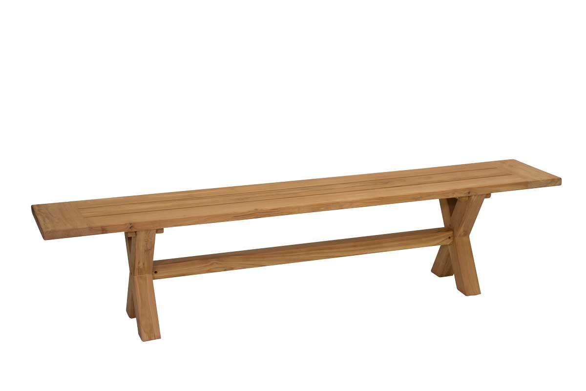Teak X leg Bench 2.5m