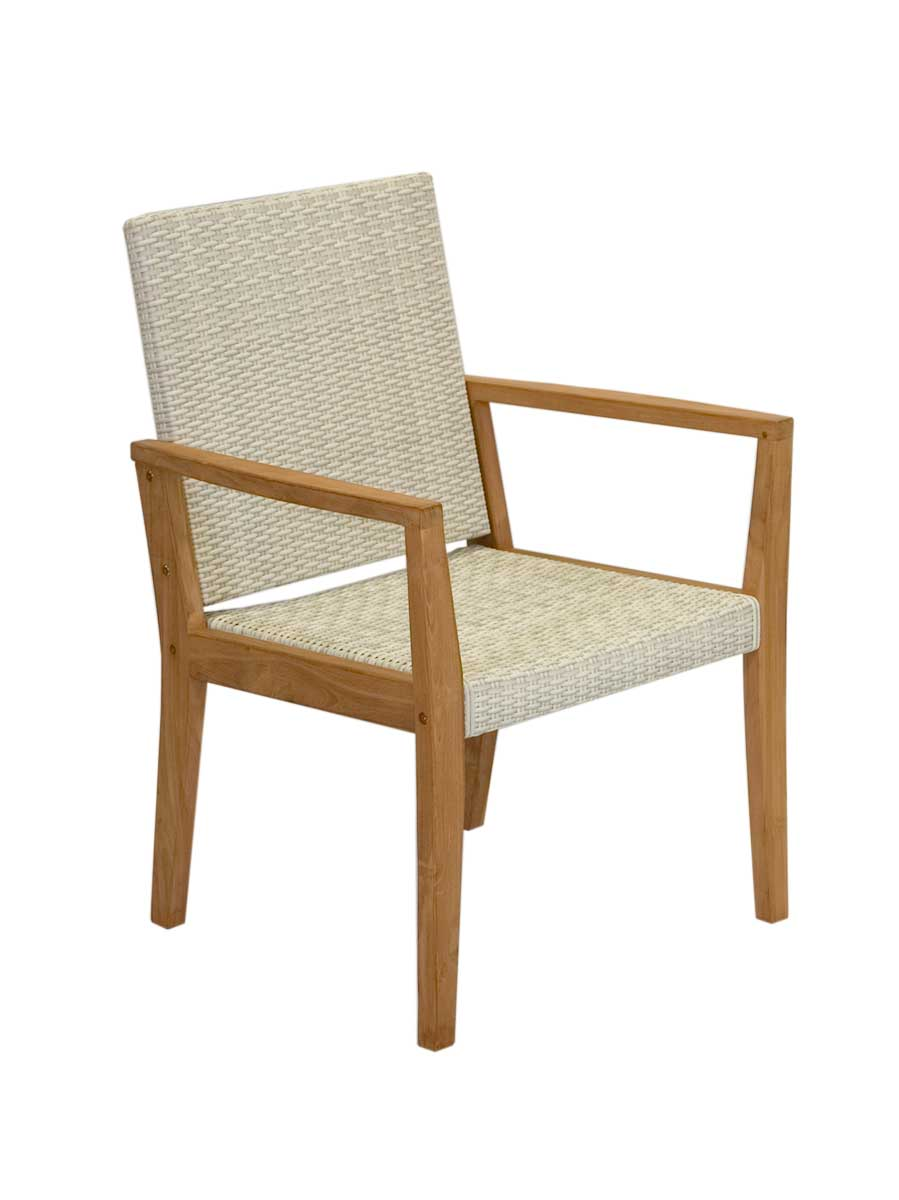 Teak White Wicker Dining Chair
